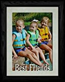 5x7 JUMBO ~ BEST FRIENDS Portrait Picture Frame ~ Cream Marble Matboard with BLACK Frame