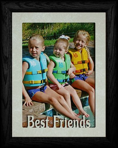 PersonalizedbyJoyceBoyce.com 5x7 Jumbo ~ Best Friends Portrait Picture Frame ~ Cream Marble Matboard with Frame (Black)