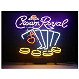 New Crown Royal Poker Real Glass Beer Bar Display Neon Signs