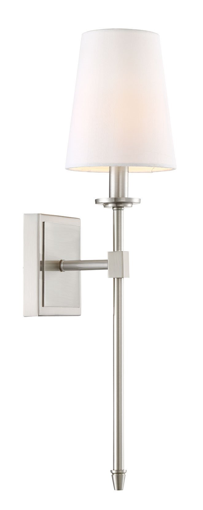 Kira Home Torche 20'' Wall Sconce/Wall Light + Linen Shade, Brushed Nickel Finish