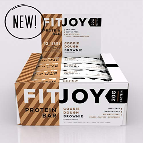 FitJoy Protein Bar, Gluten Free, Low Sugar, High Protein Snack, Cookie Dough Brownie, Pack of 12 Bars Review
