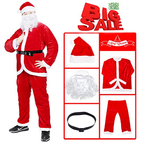 Plus Size Deluxe Santa Suit Adult Costumes (PrettyQueen Christmas Santa Claus Costume Adult Santa Costume Men's Deluxe Santa Suit (Red 4))