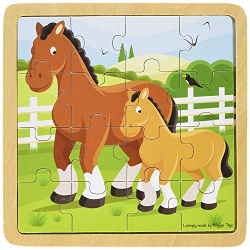 Bigjigs Toys Chunky Wooden Horse & Foal Puzzle, Multicolored ()