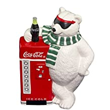 Cavanagh Coca Cola Ceramic Cookie Jar White Bear Sun Glasses Refrigerator Green Scarves