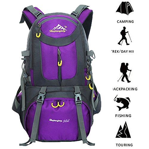 Internal Frame 50L(45+5) Backpack Hiking Climbing Camping Bag Waterproof Mountaineering Luggage Travel Outdoor Sport Pack(purple)