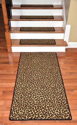 "Premium Carpet Stair Treads - Leopard 30"" x 9"" Plus a Matching 5' Runner from Dean Flooring Company"