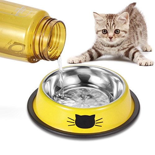 Comsmart Stainless Steel Pet Cat Bowl Kitten Puppy Dish Bowl with Cute Cats Painted Non-Skid for Small Dogs Cats Animals (Set of 2) (Yellow/Yellow) by Comsmart (Image #6)