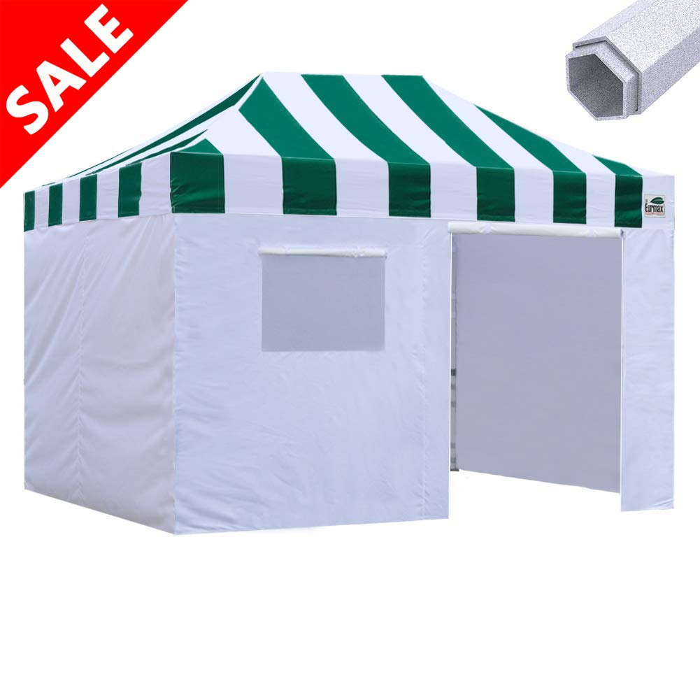 Eurmax Premium 10×15 Pop up Canopy Instant Canopies Outdoor Party Tent Shade with 4 Removable Enclosure Zipper End Sidewalls Walls and Roller Bag Carnival Green
