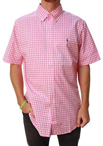 Ralph Lauren Mens Casual Button Down Classic Fit Woven Shirt Pink Check M