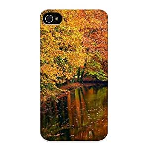 Armandcaron Tpu Case For Iphone 4/4s With Autumn River Background, Nice Case For Thanksgiving Day's Gift hjbrhga1544