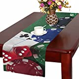 InterestPrint Playing Cards Poker Chips and Dices on Green Table Table Runner Cotton Linen Cloth Placemat Home Decor for Home Kitchen Dining Wedding Party 16 x 72 Inches