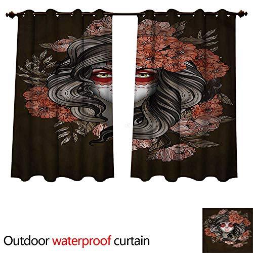 cobeDecor Day of The Dead Outdoor Curtain for Patio Calavera Woman W72 x L72(183cm x 183cm) ()