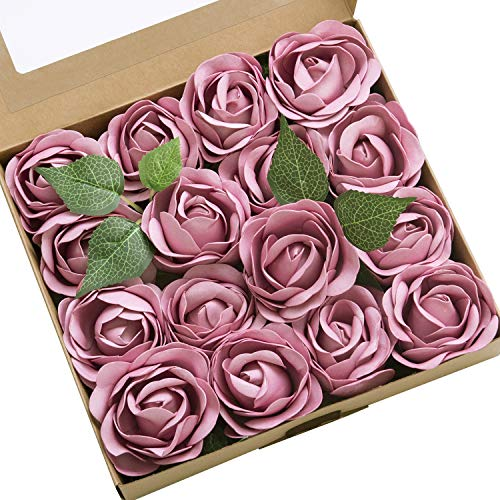 Lings moment Real Touch Artificial Rose Flower 16pcs Misty Mauve Peonies Real Looking Fake Peony w/Stem DIY Wedding Bouquet Centerpieces Reception Arrangements Party Baby Shower Home Décor