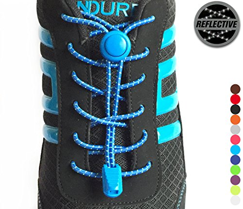 Stout Gears Reflective No Tie Shoelaces Lock System - Elastic Shoe Laces for Sneakers - 1 Pair (Royal Blue)