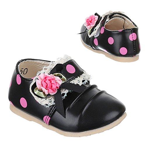 Kinder Schuhe, 223-50, BALLERINAS MIT DEKO VERZIERTE Schwarz