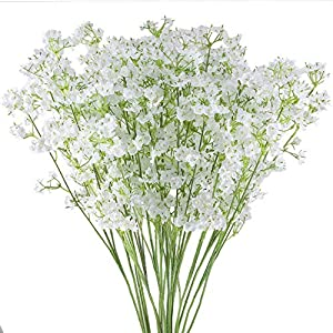 "GTIDEA 20PCS 23.6"" Artificial Baby's Breath Branches Silk Gypsophila Fake Flowers Arrangements Home Office Indoor Outdoor Wedding Bridle Bouquet Table Centerpieces Decorations White 60"