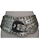 TFJ Women Extra Wide Western Fashion Belt Big Metal Buckle Bead Brown / Silver S M L Xl