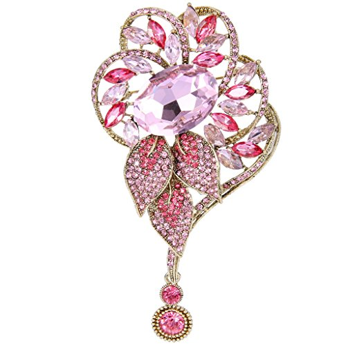Marquise Vintage Brooch - EVER FAITH Gold-Tone Rhinestone Crystal Marquise Shape Leaves Dangle Brooch Pink