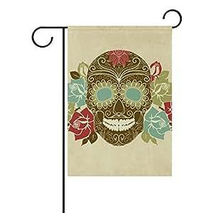 bennigiry día de los muertos Candy de calaveras jardín bandera 12x 18inch poliéster casa bandera de Jardín bienvenida Decor, Multicolor, 28x40(in)