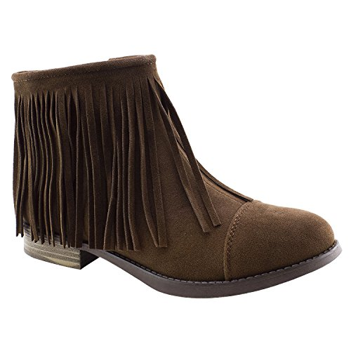 Best Taupe Faux Suede Uniform Bootie Caged Low Round Toe Fringe Camel Comfortable Fun Cute Sexy Fashion Christmas 2018 Walking Short Cowboy Boot Shoe Women Teen Girl (Size 8, Taupe)
