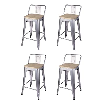 Terrific Gia M01 24B Sl Lwood 4 24 Inch Low Back Counter Height Stool 4 Pack Silver Light Wood Seat Evergreenethics Interior Chair Design Evergreenethicsorg