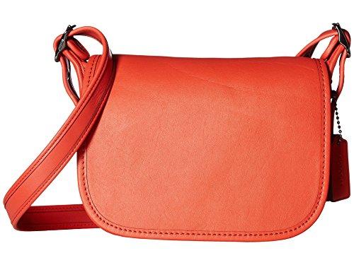 COACH Women's Glovetanned Leather Saddle Bag 18 DK/Deep Coral Handbag