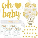 Baby Shower Decorations Kit (Gold Ed) | Gender Neutral -Boy &Girl | 75Pcs''Oh Baby'' Party Banner, Star Garland, Mom-to-Be Sash, 50 Predictions & Advice Game Cards, 20 Latex Gold Balloons | PartyHooman