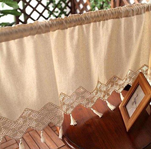 XIULIHUI Handmade Linen Crochet Window Valance, Kitchen Curtain, Cafe Curtain, Dining Room Curtain,18 x 60inch