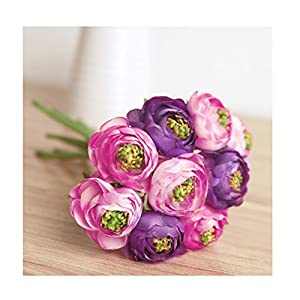 NEAER Artificial Roses Lotus Flowers Silk Plastic Roses Bunch for Home Garden Party Wedding Decoration 105