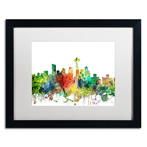 Sp Matte - Seattle Washington Skyline SP by Marlene Watson, White Matte, Black Frame 16x20-Inch