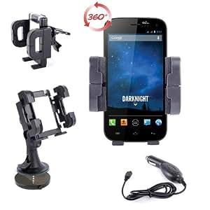 'Soporte 3en 1para coche para Smartphone Wiko Darknight (pantalla 5)–Parabrisas, Salpicadero, Rejilla de ventilación & cuadro de mando + Cargador
