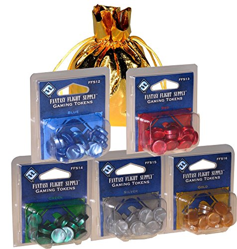 Gaming Tokens _ Marblized Plastic _ Set 20 each in 5 Colors _ Blue, Green, Red, Silver & Gold _ Bonus Gold Drawstring Storage Pouch _ Bundled - Token Plastic