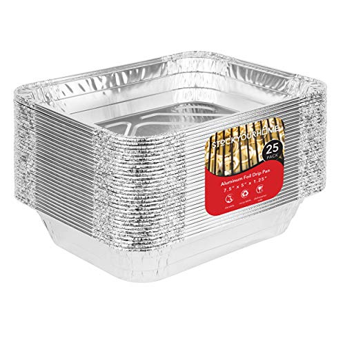Grill Drip Pan (25 Pack) Aluminum Foil Grill Drip Pans - Disposable Grill Grease Trays - Weber Grills Compatible Drip Pans Liners to Catch Grease - BBQ Drip Pan - 7.5