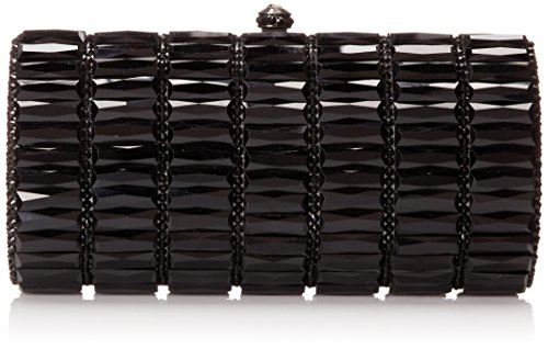 La Regale Faceted Glass and Crystal Metal Clutch,Black,One Size by La Regale