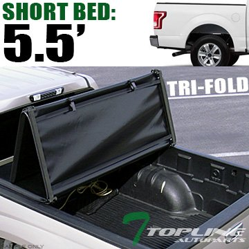 Topline Autopart Tri Fold Soft Vinyl Truck Bed Tonneau Cover For 15-18 Ford F150 Super Crew (Crew) Cab 5.5 Feet (66