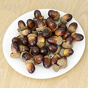 ONWON 100pcs Simulation Artificial Lifelike Small Acorn with Natural Acorn Cap for DIY Decoration Crafting Home House Kitchen Decor - Fake Fruit Props Acorns 2