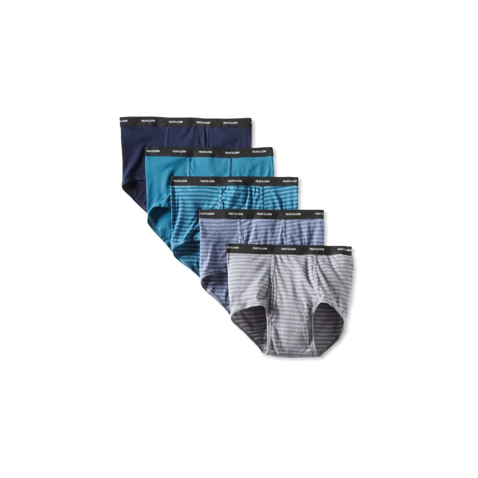 Fruit of the Loom Mens Big  Stripe Solid Brief   Colors May Vary, Assorted, XX Large(Pack of 5)
