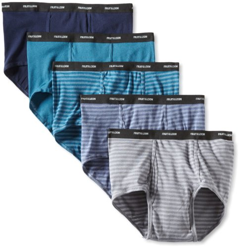 (Fruit of the Loom Men's Big  Stripe Solid Brief - Colors May Vary, Assorted, 3X-Large(Pack of 5))