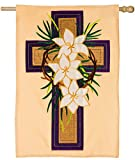 Evergreen Easter Cross Applique House Flag, 29 x 43 inches For Sale