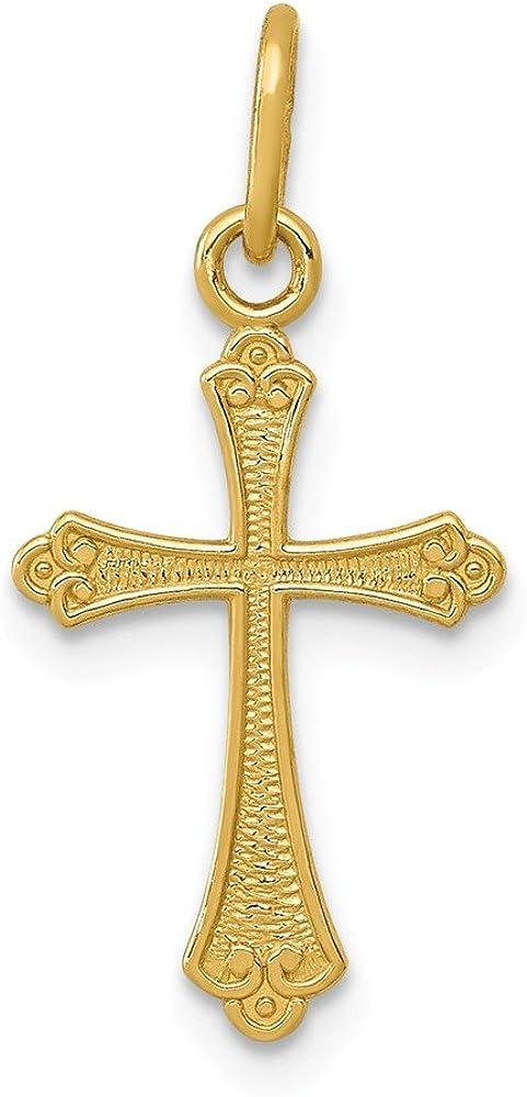 14k Yellow Gold Polished Small Cross Pendant
