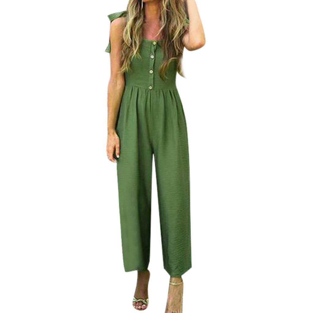 LONGDAY Tank Top Scoop Neck Casual Jumpsuit Sleeveless Shirt Button Up Summer Romper Bandage Strappy Wide Leg Pants Green