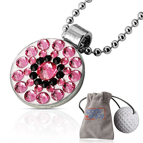 lifetoenjoy Golf Ball Marker Necklace for Women - Bonus: Velvet Pouch for safekeeping - Always Have Your Marker Easily Available - Beautiful Bling Rose Crystals -with Super Strong ()
