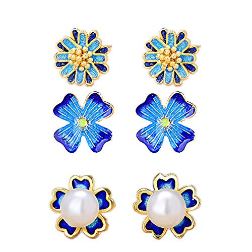 Udecoroption Cloisonne Earrings, Pearl Stud Earrings for Women, Handcrafted Gold Plated Stud Earrings for Women Set of 3 ()