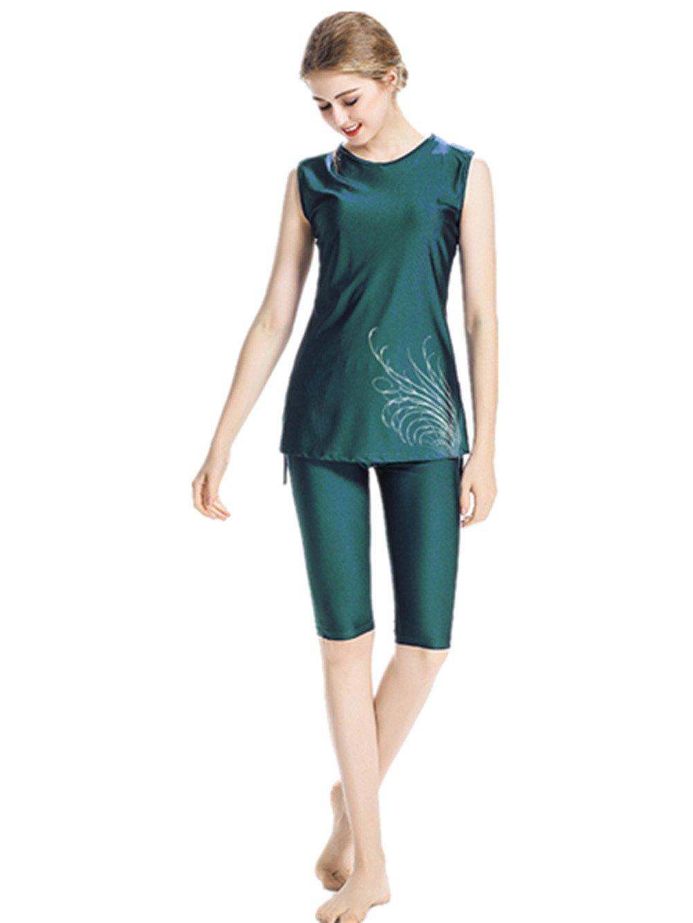 CaptainSwim Women Muslim Swimwear Girls Swimsuit Burqini Islamic Sleeveless Swimwear Ladies Beachwear Burkini (Green, Int'l~XX-Large)