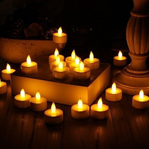 Stunning Flameless LED Tea Light Candles - Realistic Battery-Powered Flameless Candles - Beautiful and Elegant Unscented LED Candles -  (24 Pack)