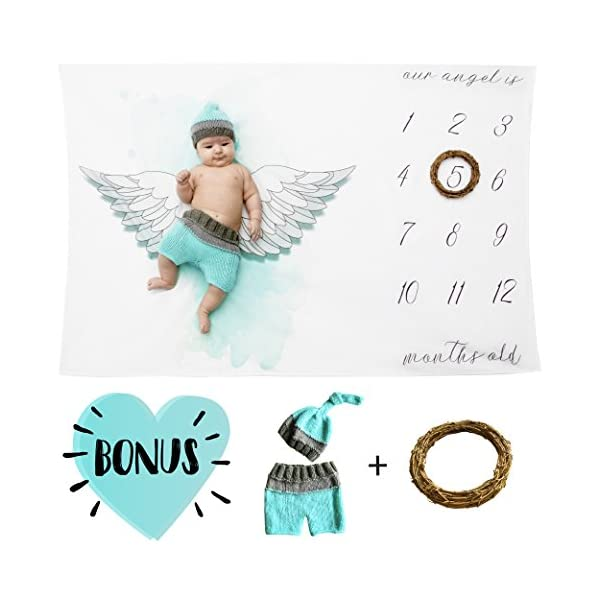 Milestone Blanket Boy-Baby Monthly Milestone Blanket Set Includes: Blankets,Newborn Outfit Cloth and Leaf-Frame|New Mom Shower Gift for Toddler Boys/Girls to Track Growth, Swaddle Blanket Photo Prop
