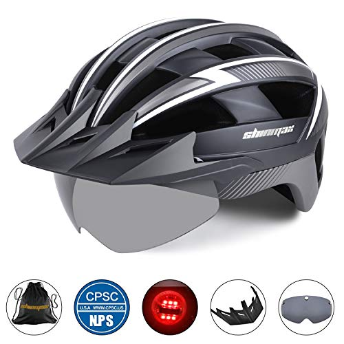 Basecamp Bike Helmet Men Women, Bicycle Helmet CPSC CE Certified with LED Light Detachable Magnetic Goggles Sun Visor Reflective Straps Cycling Helmet BC-023 Bonus with Portable Bag