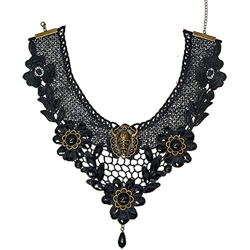 (MEiySH Black Lace Gothic Lolita Pendant Choker Necklace Earrings Set (Necklace)