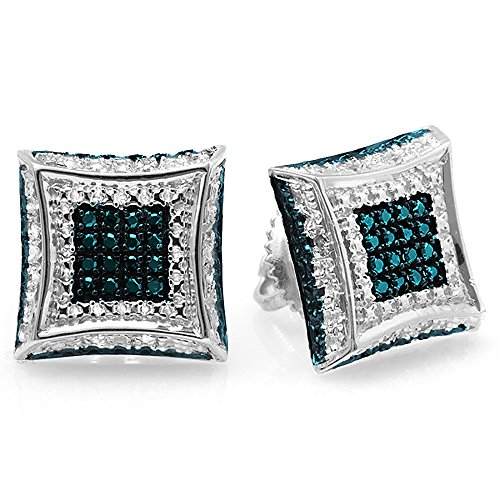 rling Silver Round Blue & White Diamond Micro Pave Kite Shape Stud Earrings ()