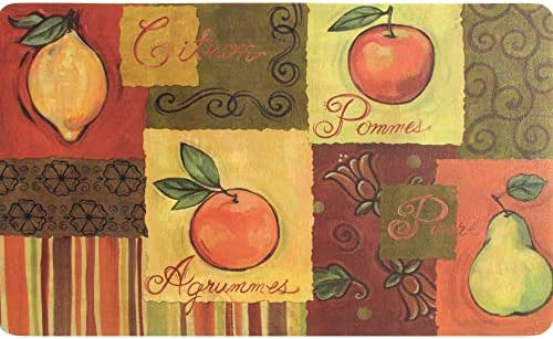 Indoor Fruit Collage Kitchen Mat (18 X 30) Multi Color Patterned Rectangle Memory Foam Polyester Rubber